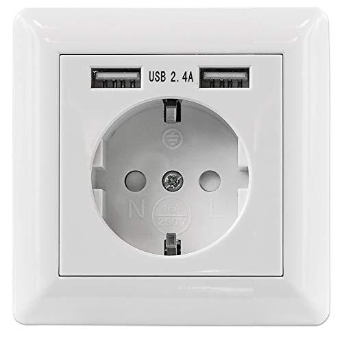 Intellinet 772174 vägguttag med 2 x USB A laddningsportar 5 V/2 4 A
