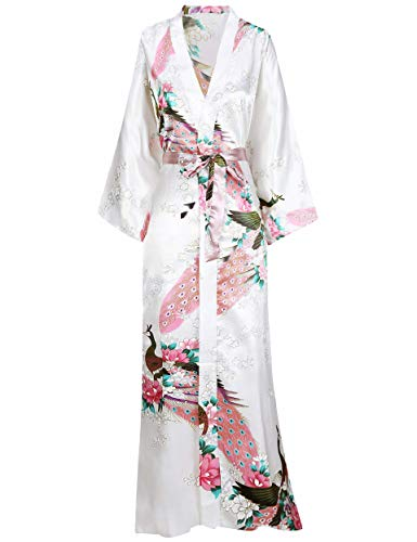 BABEYOND Women's Kimono Robe Long Robes with Peacock and Blossoms Printed Kimono Outfit (White)