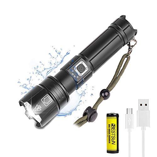 Linterna LED XHP70 de 8000 lúmenes, linterna táctica recargable súper brillante, linternas de mano de alta potencia, lámpara impermeable con zoom, linterna para senderismo, camping, viajes