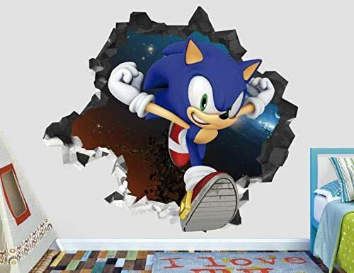 Efecto 3D ver pegatinas de pared para adolescentes y niños decoración de pared vinilo mural-Sonic Adventure