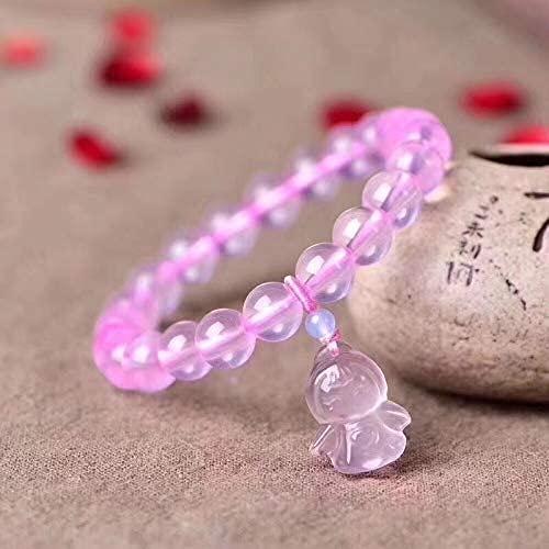LiuliuBull 1 UNID 8mm Rosa Natural Rosa Cuarzo Cuarzo Pulsera de Piedra Pulsera de ángel Pulsera de la Estatua para Las joyería de Las señoras jóvenes