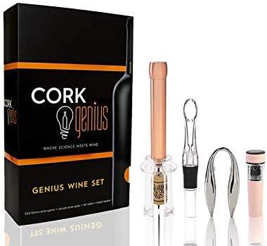 Cork Genius Wine Opener Set 4 Piece with Wine Accessories Includes Air Pump Bottle Opener Bottle product image