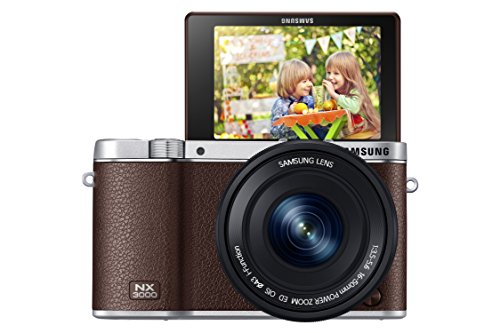 Samsung NX3000 Smart Systemkamera (20,3 Megapixel, 7,5 cm (3 Zoll) Display, Full HD Video, WiFi, NFC, Adobe Photoshop Lightroom 5, inkl. 16-50 mm OIS i-Function Power-Zoom-Objektiv) braun