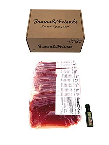 Jamon&Friends - Caja de 10 sobres de jamón serrano en lonchas + REGALO botella de aceite de oliva virgen extra 20 ml - 700 gr (10 sobres de 70 gr cada uno)