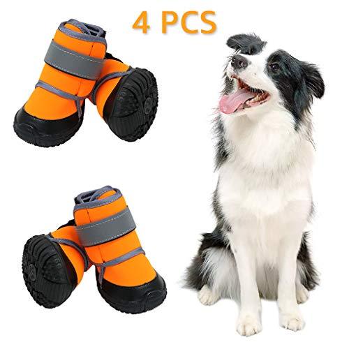 Zeraty Dog Shoes loopschoenen voor grote honden, met klittenbandsluiting, reflecterend, verstelbaar, anti-slip zool, oranje, 4 stuks, XXL:3.94''×3.27''(L*W), 4 stuks.