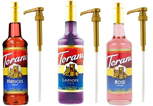 Torani Syrup PLUS 3 Pumps, for Cocktails, Mocktails and Tea, Hibiscus, Lavender and Rose, 25.4 Ounce (3 Pack) to Enhance Tea, Italian Ices and Snow Cones
