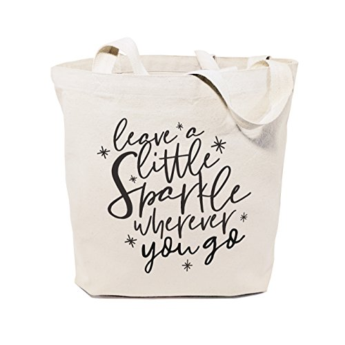 The Cotton & Canvas Co. Leave a Little Sparkle Wherever You Go Beach, Shopping and Travel Resusable Shoulder Tote and Handbag