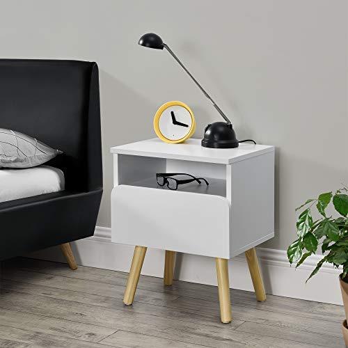 [en.casa] Nachtkastje 50x40x34 cm wit en hout