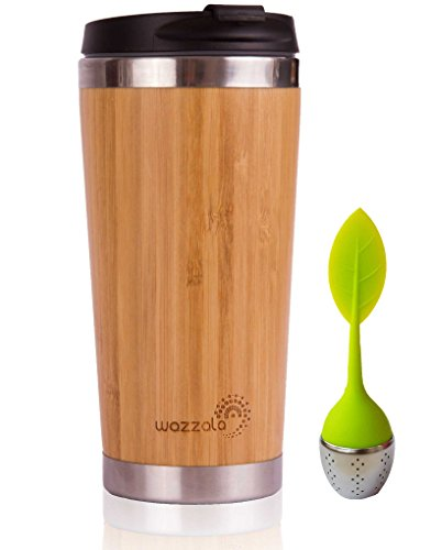 Elegant Reusable Bamboo Eco Travel Mug - Thermos for Coffee or Tea. Splash-Proof, Easy to Clean Lid. Silicone Tea Infuser Included (15 Oz)