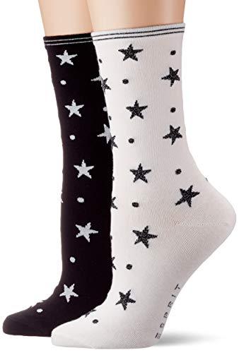 ESPRIT Damen Socken Dots und Stars 2er Pack - Baumwollmischung, 2 Paar, Schwarz (Sky Blue/White 50), Größe: 39-42