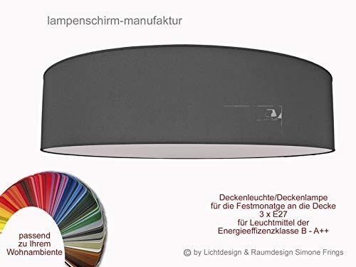 Aktionsprodukt Deckenleuchte Durchmesser 50 cm mit Stoff Lampenschirme Taupe Grau Rot Gelb Grün Pink Pastell oder viele andere Farben 3 x E27 Diffuser Blendschutz