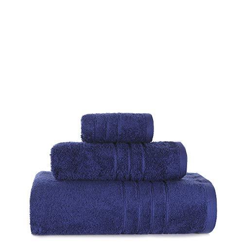 TWO TRADING Juego de Toallas 3 Piezas Color Azul 700 Gramos
