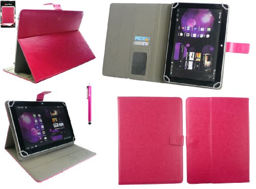 Emartbuy® Denver TAQ-10133 10.1 Zoll Tablet Universalbereich Hot Rosa Multi Winkel Folio Executive Case Cover Wallet Hülle Schutzhülle mit Kartensteckplätze + Hot Rosa Eingabestift