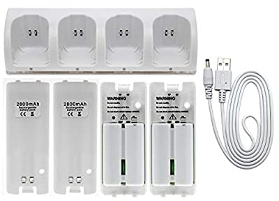 OSTENT Charger Dock Station + 4 Battery Packs Compatible for Nintendo Wii Remote Controller Color White