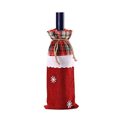Yue668 Weihnachten Weinbeutel Maschine bestickt Weinflasche Set Tischdekoration Lieferungen Rotwein Champagner Rotweinflasche Set Dekore Weihnachten Tischdekoration (B)