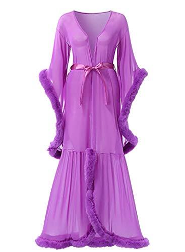 Shhyy Bata de Lencería para Mujer, Bata Kimono Transparente Larga, Ropa Interior Babydoll, Bata de Novia con Plumas Lencería Sexy para Mujer,D