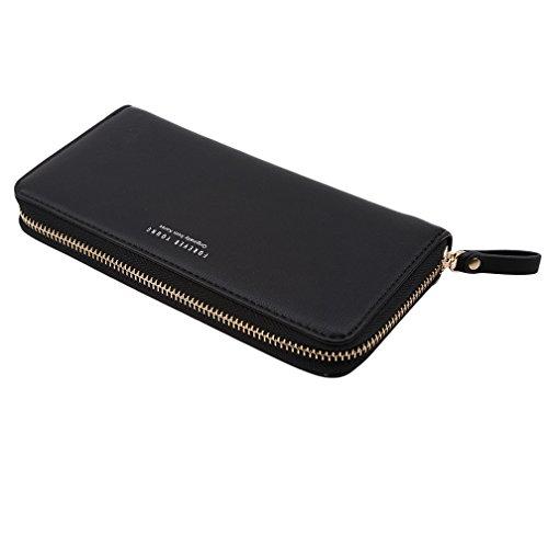 LJSLYJ Geldbörse Damen PU Leder Elegant Süß Handtasche Portemonnaie Geldbeutel (schwarz)
