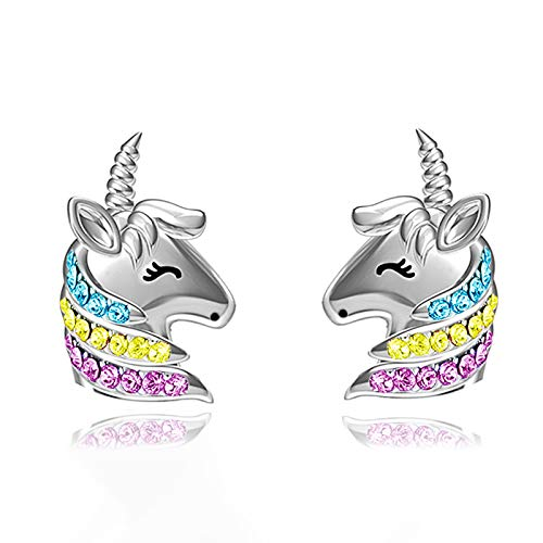 Unicorn Earrings For Girls Hypoallergenic Sterling Silver Cute Cz Rainbow Unicorn Stud Earrings Jewelry Birthday Gift