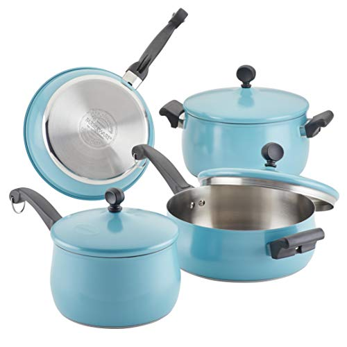 Farberware 120 Limited Edition Stainless Steel Cookware Pots and Pans Set with Prestige Kitchen Tools, 10 Piece, Aqua Blue