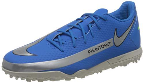 Nike Herren Phantom GT Club TF Soccer Shoe, Photo Blue/Metallic Silver-Rage Green-Black, 41 EU