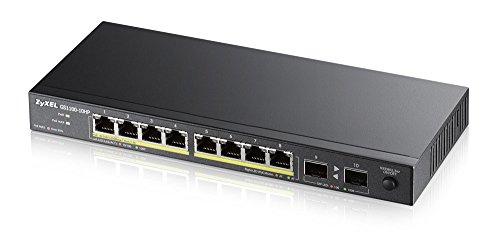 Zyxel Gigabit Switch de 10 puertos PoE+ no configurable [8 puertos con 130 vatios] - Diseño sin ventilador [GS1100-10HP]