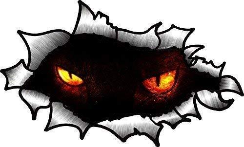 Oval Zerrissen Offen Zerrissen Metall Effekt Design mit Paar Evil Gothic Demon Eyes Auto Aufkleber 150x90mm