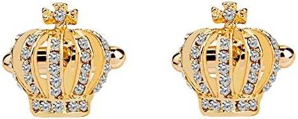 GYZX 1 Pair Elegant Crystal Rhinestone Crown Cufflinks for Mens Women Shirt Wedding Party Cuff Links Gifts (Color : Gold)