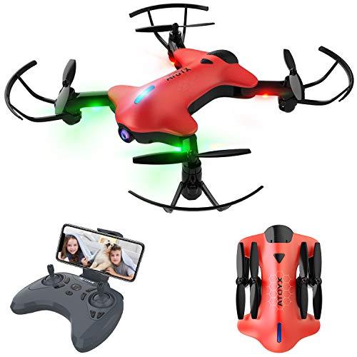 Faltbare Drohne, Drohne mit Kamera für Kinder und Anfänger, 720P mit Echtzeit-FPV-WiFi-Fernbedienung, One Key Start/Landung, Schwerkraftsensor, Höhenlage halten, Headless-Modus, AT-146