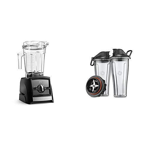 Vitamix A2500 Ascent Series Smart Blender, Professional-Grade, 64 oz. Low-Profile Container, Black (Renewed) & Ascent Series Blending Cup Starter Kit, 20 oz. with SELF-DETECT, Clear - 66197