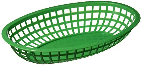 Winco Oval Fast Food Baskets, 10.25-Inch by 6.75-Inch by 2-Inch, Green -  Winco USA, POB-G