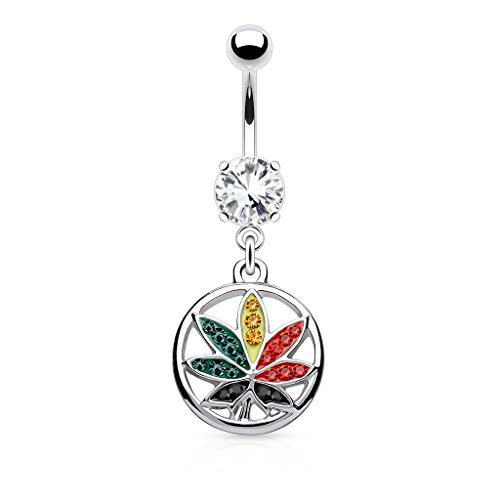 Multi Color Crystals Paved Rasta Pot Leaf In Circle Dangle Belly Button Ring 316L 14g Navel Ring (Rasta)