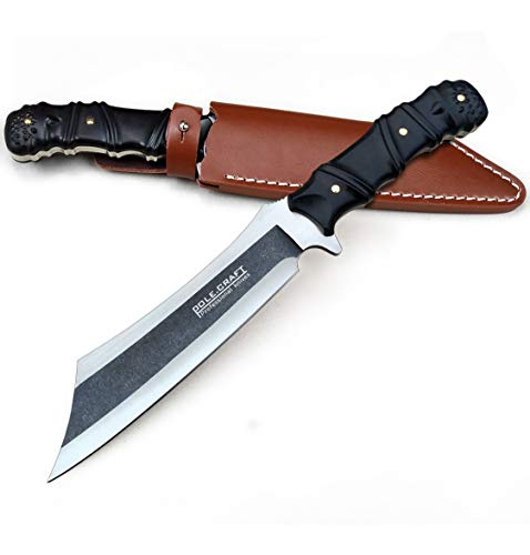 Machete With Sheath, Medium size 7-inch, Chopper Knife, Outdoor Camping Knife - Hunting Knife Faxed Blade - 9Cr18Mov Steel 59HRC - Ebony Wood Handle - With Leather Sheath