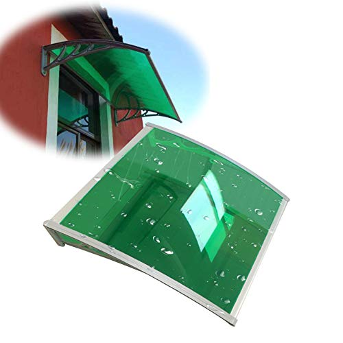 JIANFEI Door Canopy Windows Awning, Polycarbonate Cover Front Door Outdoor Patio Rain Snow Protection, Aluminum Bracket Roof Shed, 7 Sizes Customizable (Color : Green, Size : 60X60CM)