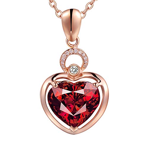 Amazing Deal GOTDCO. Heart Lady Sweater Necklaces with Dainty Garnet Pendants - Exquisite Jewelry Ch...
