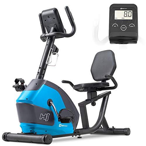 Hop-Sport Liegeergometer HS-035L Solo - Sitz-Heimtrainer für Senioren - Liegefahrrad belastbar bis 135kg - liegend Fahrradtrainer für zuhause blau