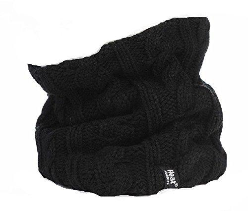 Preisvergleich Produktbild HEAT HOLDERS Damen Thermo Winter Warm Echtleder Neck Warmer 3.4 Tog Fleece-Kabel Strick Snood Schal Schwarz