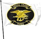 Seal Team 3 Insignias Decorativas para jardín, Bandera Artificial al Aire Libre para el hogar, jardín o Patio, 3 x 5 pies