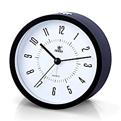 Laigoo Analog Alarm Clock Non-Ticking, Silent Travel Clock Vintage Alarm Clock Bedside/Desk Clock Battery Operated Round Bedroom/Bathroom Clock with Snooze & Nightlight Function(Black)