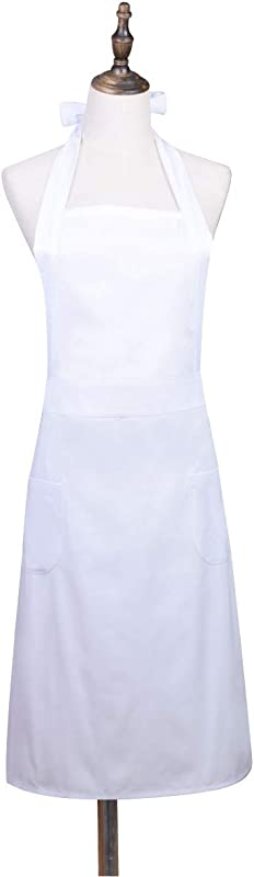 Love Potato White Adjustable Pinafore Apron Kitchen Cake Baking Cooking Cleaning Apron With 2 Pockets For Women Girls Adult Women
