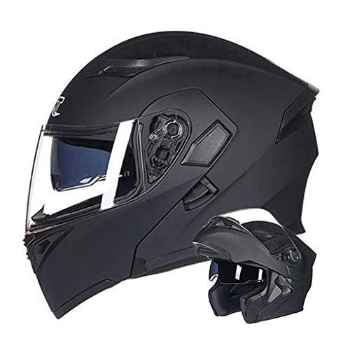 WEW Casco Modular de Motocicleta Unisex Textura de Fibra de Carbono Casco Integral Casco abatible Personalidad Adulta Cascos de cercanías con Doble Lente 4 Estaciones Casco de protección,A,54~56cm M