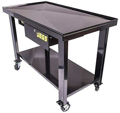 JEGS Transmission Teardown Work Station | 1/2 Ton Capacity | Sloping Drain Table | Locking Drawer | Removable 1-Gallon Drain Basin | Full-Width Lower Shelf | Four 4-Inch Caster Wheels