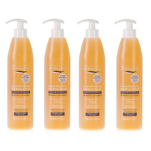Byphasse LOT DE 4 - Shampooing à la kératine liquide - 520 ml - Cheveux secs et ternes