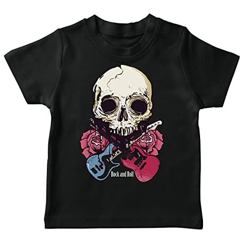 lepni.me Maglietta per Bambini Chitarre, Teschi, Rose - Amanti del Concerto Rock & Roll (3-4 Years Nero Multicolore)