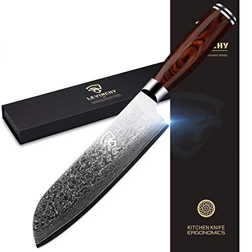 LEVINCHY Damascus Santoku Knife 7 inch Professional Japanese Damascus Stainless Steel with Premium PAKKA Handle