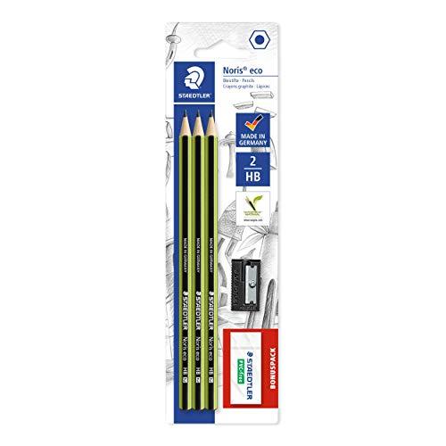 STAEDTLER Bleistift Noris eco, hohe Bruchfestigkeit, rutschfeste Soft-Oberfläche, Wopex-Material, Härtegrad HB, Blisterkarte mit 3 Stück + 1 Radierer + 1 Spitzer, 18030SBK-1