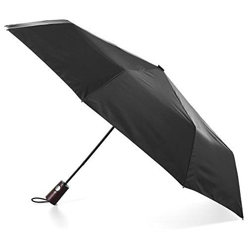 totes Automatic Open Wooden Handle Umbrella, Black