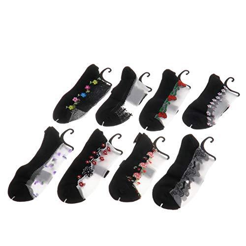8 pares de calcetines para mujer, con diferentes flores, ultrafinos, transparentes, de cristal y seda, elásticos, cortos