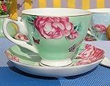 CJHYY Lindo Juego de Taza y platillo de café de Porcelana de Hueso Europeo, diseño Moderno, Forma geométrica, Elementos Chinos, té de la Tarde, Taza de 200 ml