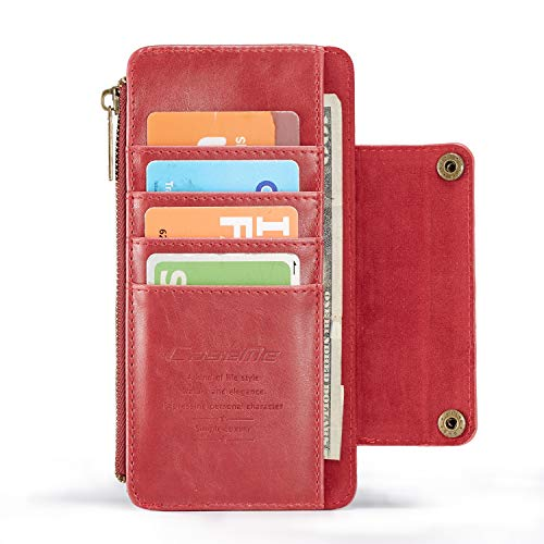 HED para La Cubierta De La Cartera De iPhone 6 / 6s, Ranuras Magnéticas De 5 Tarjetas con Cremallera 1 Monedero Cubierta De Cobertura De Embrague para iPhone 6 / 6s (Color : Red)