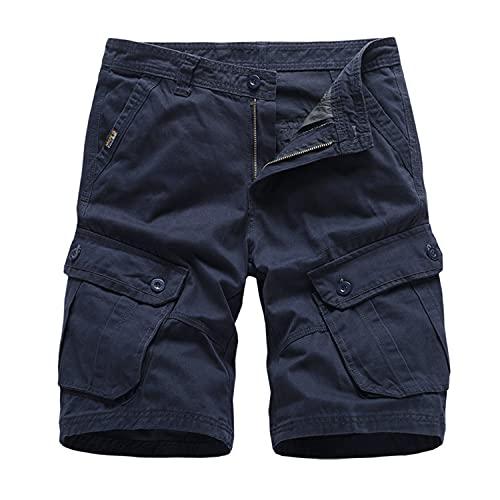 Men's Multi Pockets Cargo Short Outdoor Casual Loose Fit Dungarees Shorts Straight Leg Comfy Beach Short (Navy Blue,32)